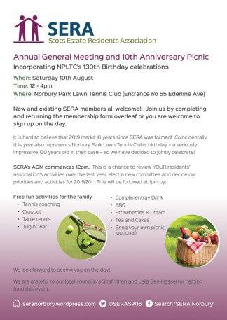 SERA 10th Anniversay AGM & Picnic